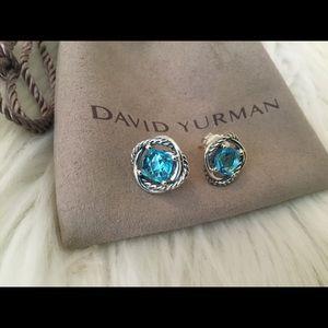 David Yurman 7mm Infinity Blue Topaz Earrings